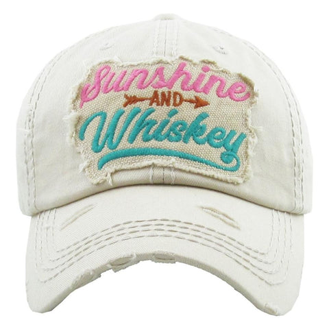 "Vintage, distressed baseball cap featuring ""Sunshine and Whiskey"" embroidered details. - Southern Style and Stash A Specialty Boutique"