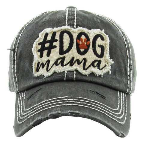 "Vintage, distressed baseball cap featuring ""#Dog Mama"" embroidered detail.<br> - Southern Style and Stash A Specialty Boutique"