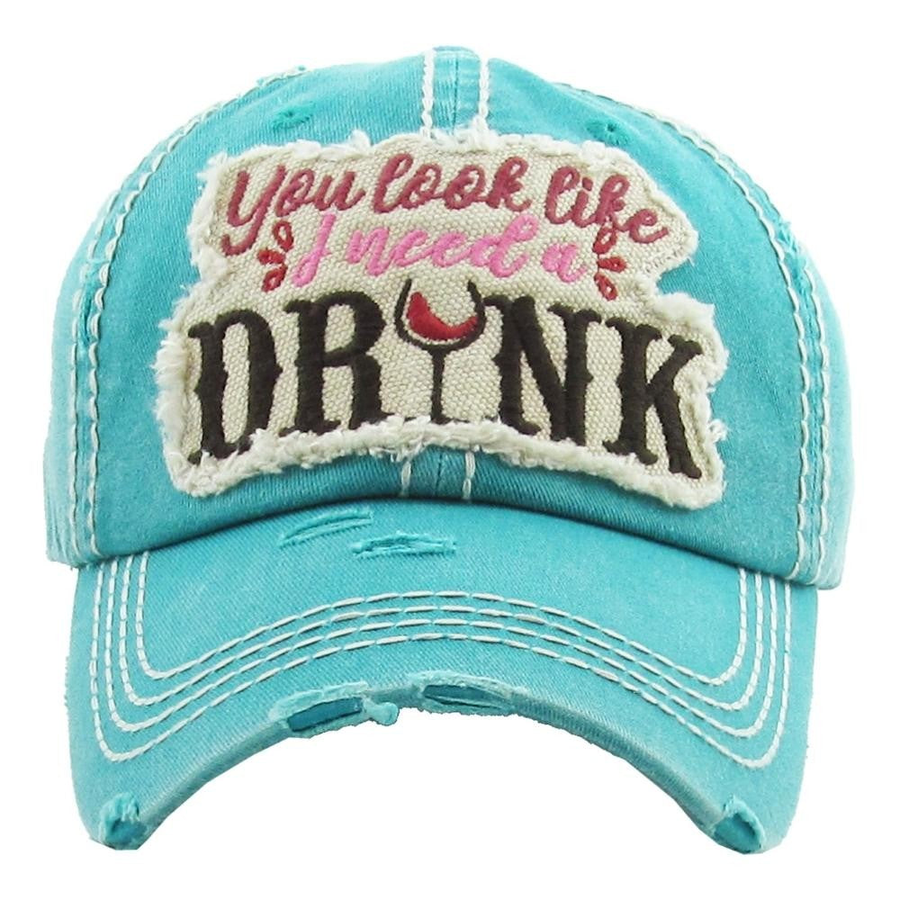 "Vintage, distressed baseball cap featuring ""You Look Like I Need a Drink"" embroidered detail. - Southern Style and Stash A Specialty Boutique"