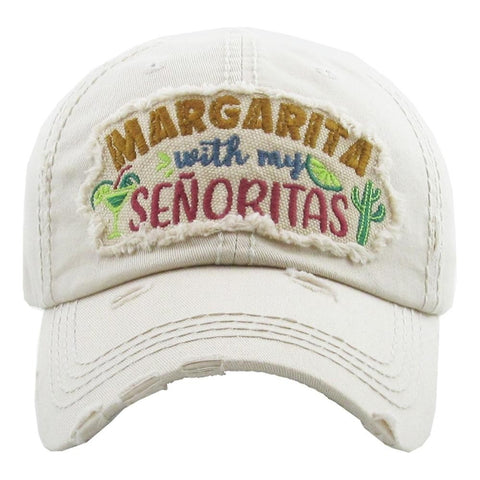 "Vintage, distressed baseball cap featuring ""Margarita with my Senoritas"" embroidered detail. - Southern Style and Stash A Specialty Boutique"