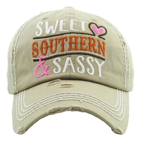"Vintage, distressed baseball cap featuring ""Sweet Southern &amp; Sassy"" embroidered detail.</span><br> - Southern Style and Stash A Specialty Boutique"