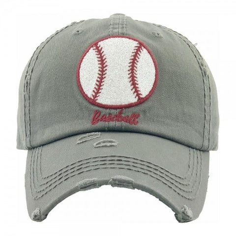 Baseball embroidered glittery vintage distressed baseball cap/Moss - Southern Style and Stash A Specialty Boutique