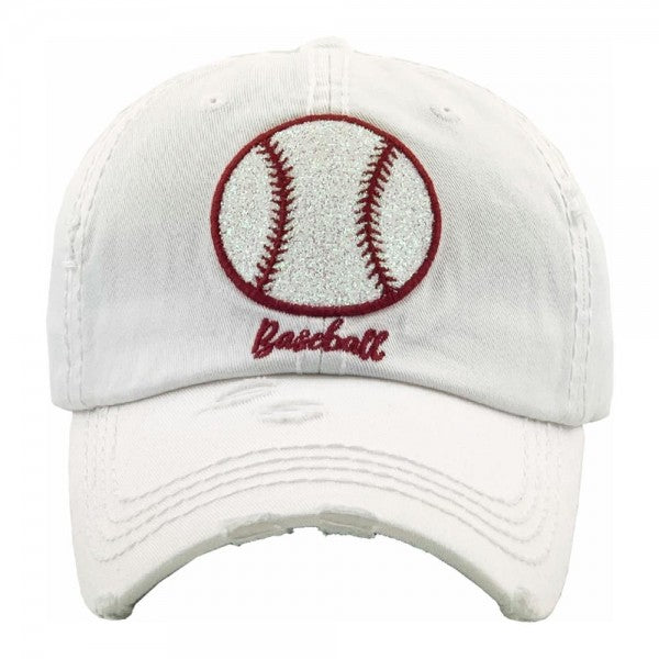 Baseball embroidered glittery vintage distressed baseball cap/White - Southern Style and Stash A Specialty Boutique