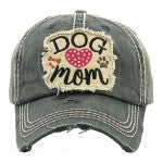 "Rhinestone 'Dog Mom"" embroidered vintage distressed baseball cap/Black - Southern Style and Stash A Specialty Boutique"