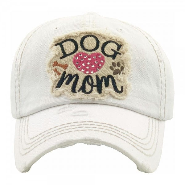 "Rhinestone 'Dog Mom"" embroidered vintage distressed baseball cap/White - Southern Style and Stash A Specialty Boutique"