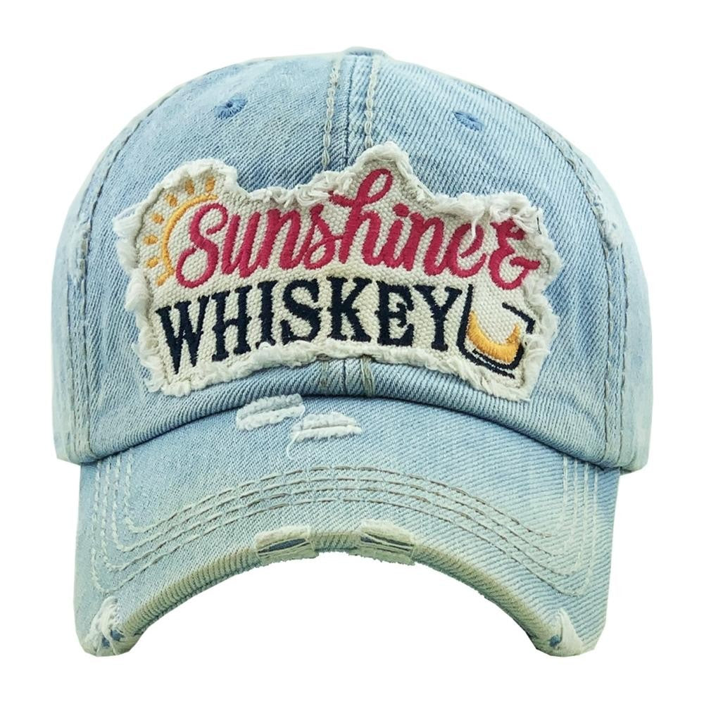 """Sunshine & Whiskey"" embroidered vintage distressed baseball cap/Light Denim - Southern Style and Stash A Specialty Boutique"