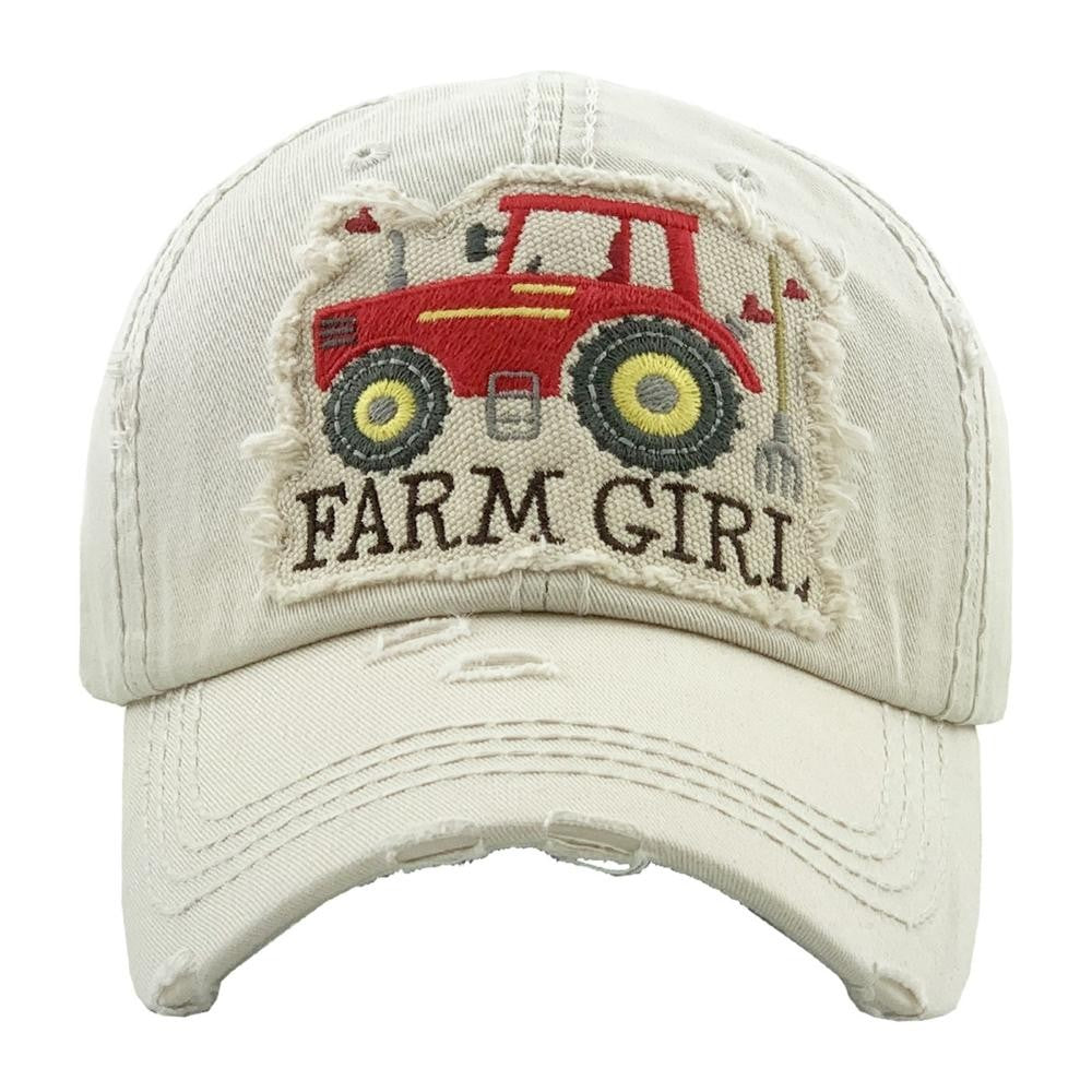 """Farm Girl"" embroidered vintage distressed baseball cap - Southern Style and Stash A Specialty Boutique"