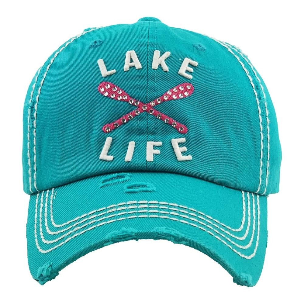 "Rhinestone ""Lake Life"" embroidered vintage distressed baseball cap. - Southern Style and Stash A Specialty Boutique"