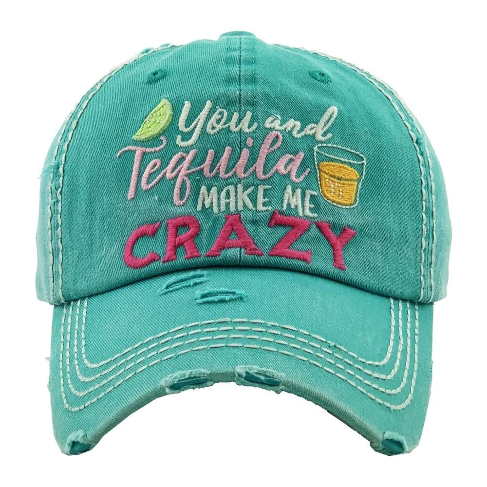 """You & Tequila Make Me Crazy"" embroidered vintage distressed baseball cap - Southern Style and Stash A Specialty Boutique"