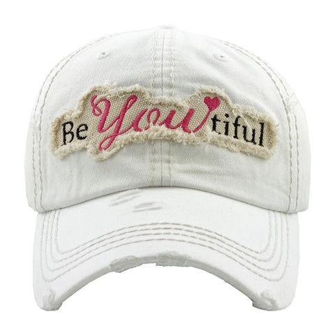 """BeYoutiful"" embroidered vintage distressed baseball cap. - Southern Style and Stash A Specialty Boutique"