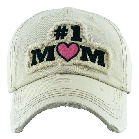 #1 Mom Embroidered Distressed Baseball Cap. - Southern Style and Stash A Specialty Boutique