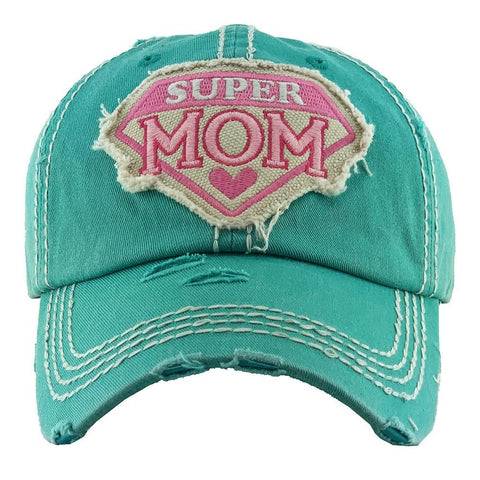 Super Mom Embroidered Distressed Baseball Cap. - Southern Style and Stash A Specialty Boutique