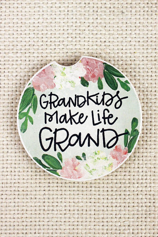Grandkids Make Life Grand Car Coaster (single coaster) - Southern Style and Stash A Specialty Boutique