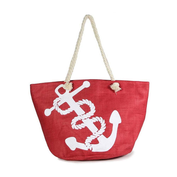 Canvas tote bag with an anchor pattern/Navy or Red - Southern Style and Stash A Specialty Boutique