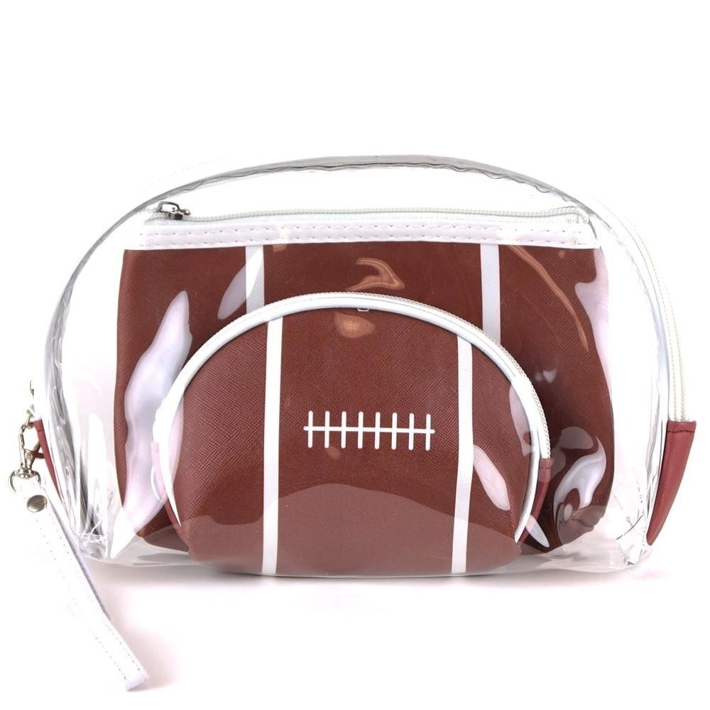 Football clear 3pc travel pouch set.