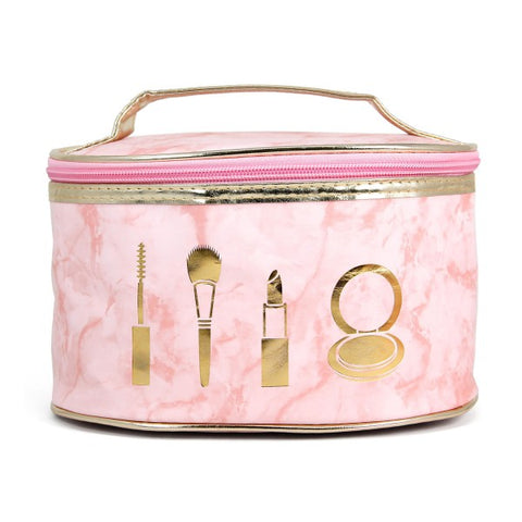 Marble faux leather cosmetic travel bag/pink - Southern Style and Stash A Specialty Boutique