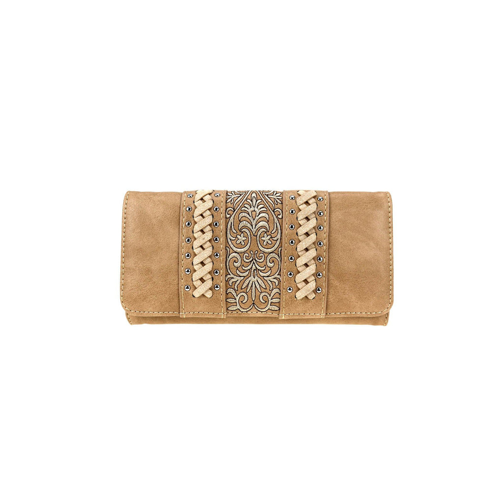 Tan Embroidered Wallet/Wristlet - Southern Style and Stash A Specialty Boutique