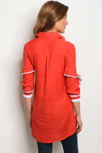 LONG SLEEVE RED WHITE TOP