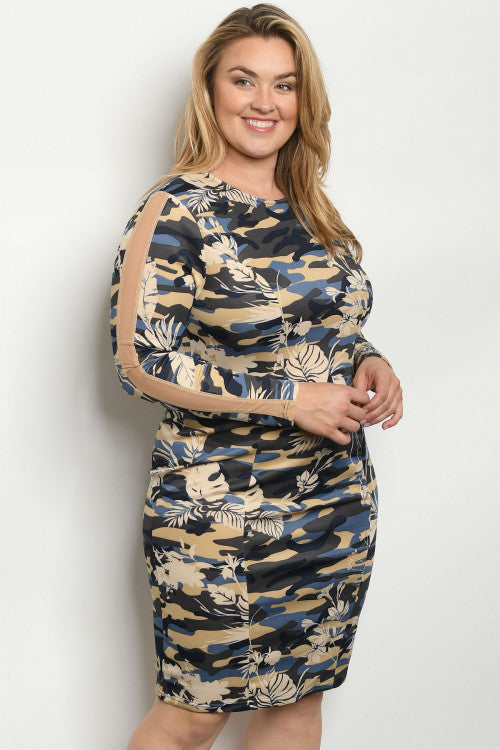 NAVY CAMOUFLAGE PLUS SIZE DRESS