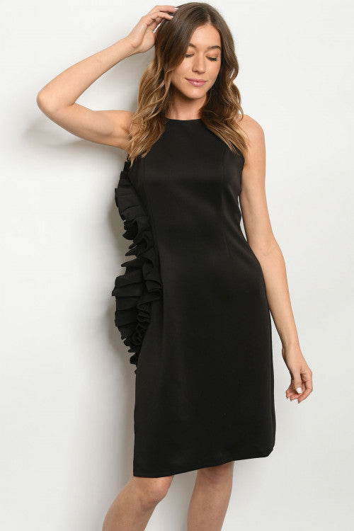 Breathtaking Black Dress with side ruffle - Southern Style and Stash A Specialty Boutique