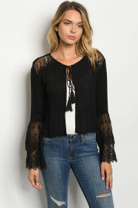 Long layered lace sleeves scoop neck tie front cardigan top. - Southern Style and Stash A Specialty Boutique