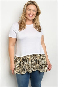 WHITE SNAKE ANIMAL PRINT PLUS SIZE TOP - Southern Style and Stash A Specialty Boutique