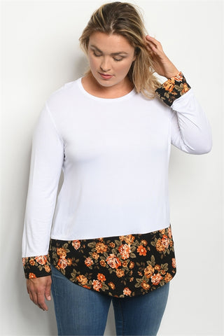 Cute! Long Sleeve WHITE BLACK FLORAL TOP or Black on Black Floral Top/Plus Size