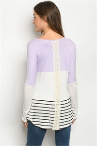 Long Sleeve LILAC IVORY TOP with lace stripe down the back