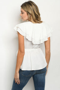 WHITE TOP Short double frill sleeve and yoke tie waist peplum top.