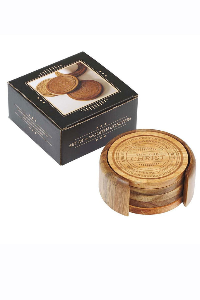 SET OF FOUR ACACIA WOOD BIBLICAL COASTERS IN HOLDER - Southern Style and Stash A Specialty Boutique