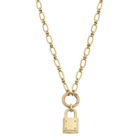 Claire Padlock Necklace in Worn Gold