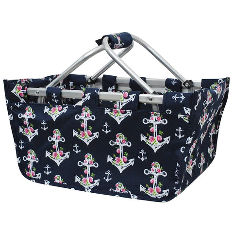 Rose Anchor Canvas, Shopping, Market, Picnic Basket - Southern Style and Stash A Specialty Boutique