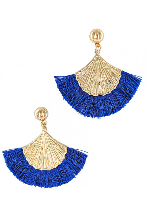 BLUE TASSEL FASHION EARRINGS WITH GOLD SHELL