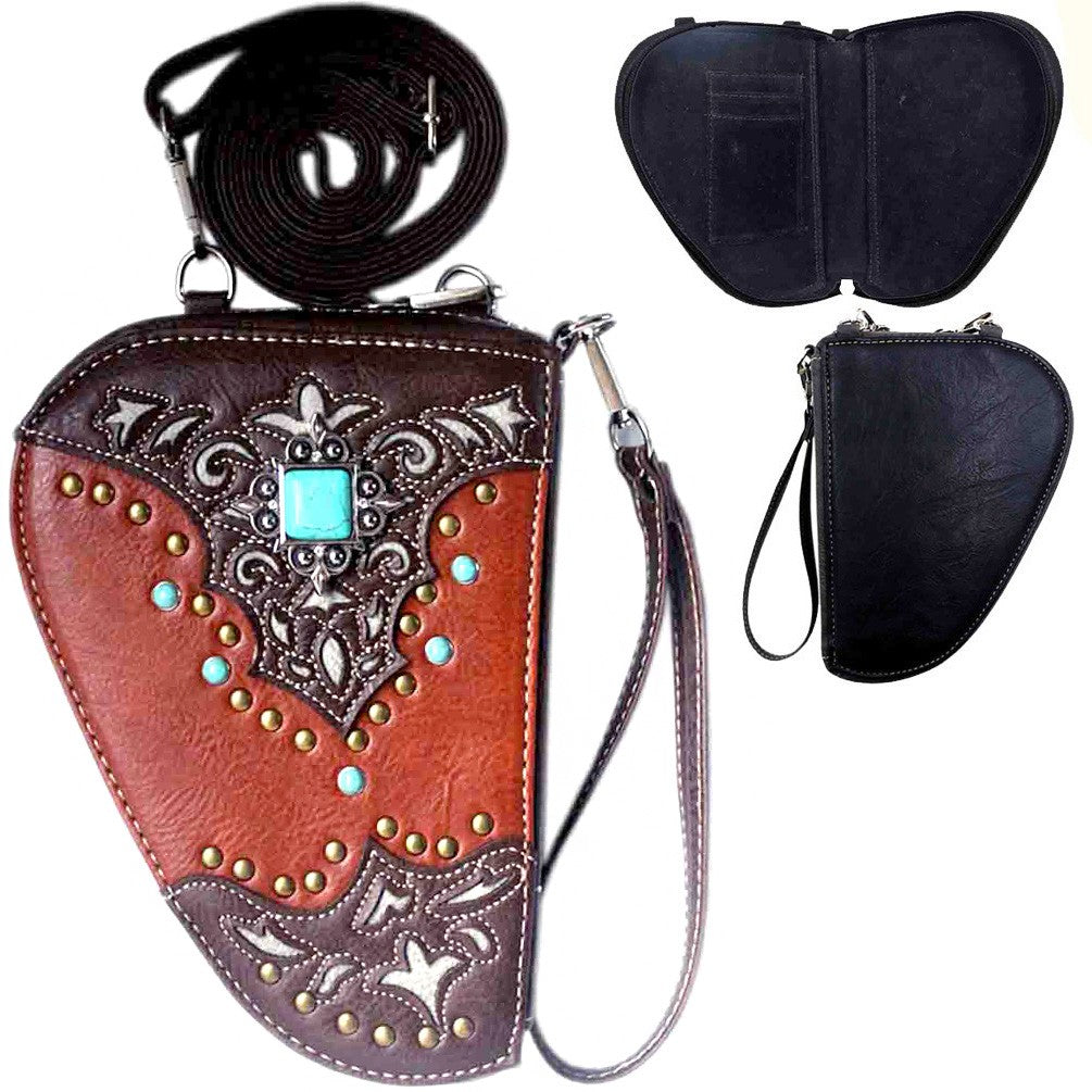 Turquoise Stone Concho Crossbody Gun Holster Shaped Conceal Carry Pouch-Black or Brown - Southern Style and Stash A Specialty Boutique