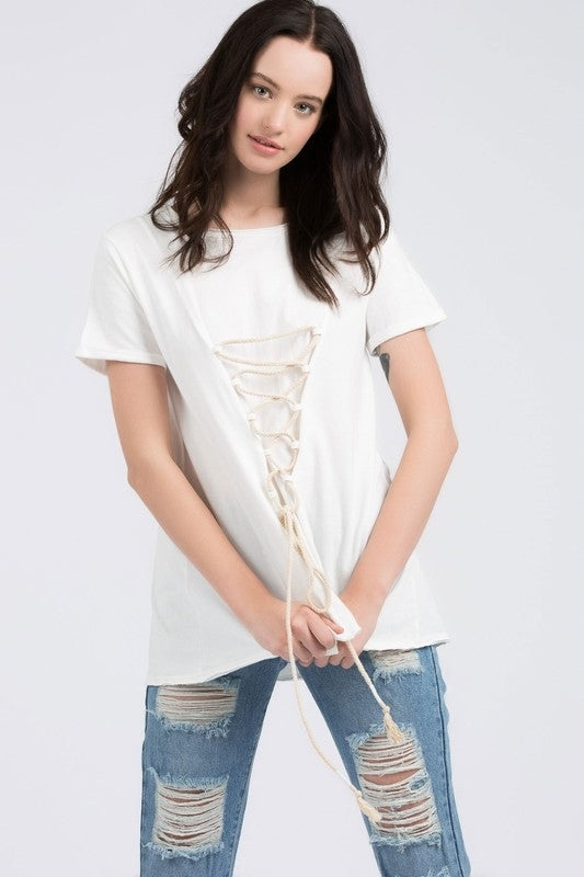 Short Sleeve, round neck top with front lace up