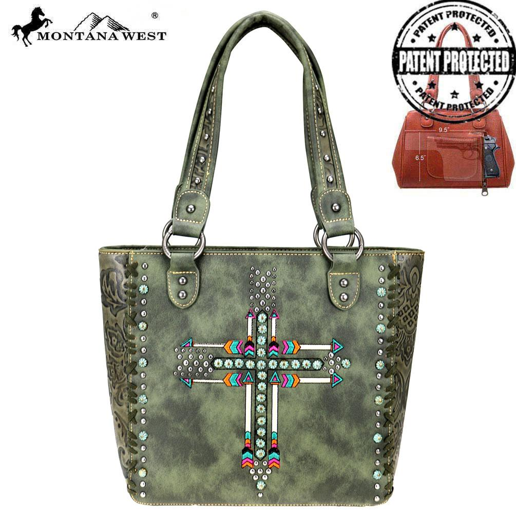 Arrow Collection Concealed Carry Tote/Green - Southern Style and Stash A Specialty Boutique