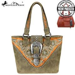 Montana West Buckle Tote Green