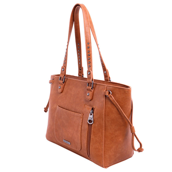 Montana West Tooled Collection Concealed Carry Wide Tote/Brown