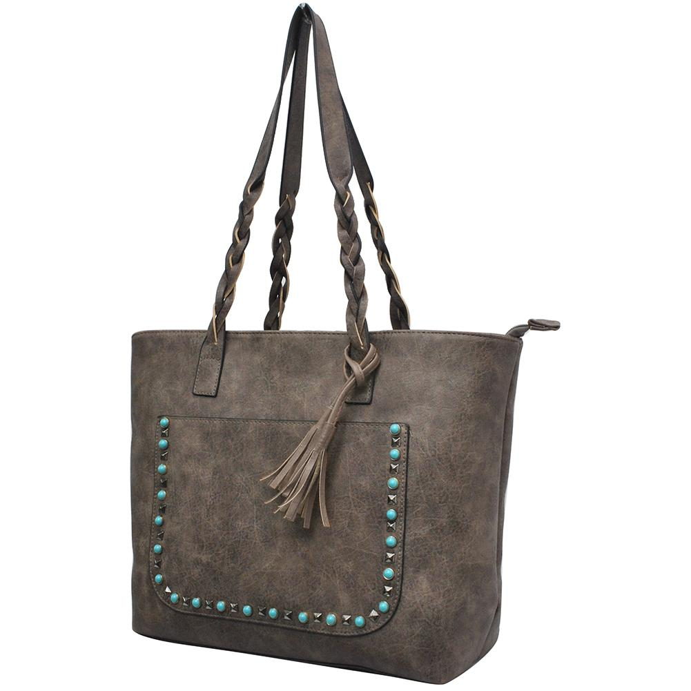 Taupe Gray Faux Leather Braided Shoulder Strap Fashion Bag - Southern Style and Stash A Specialty Boutique