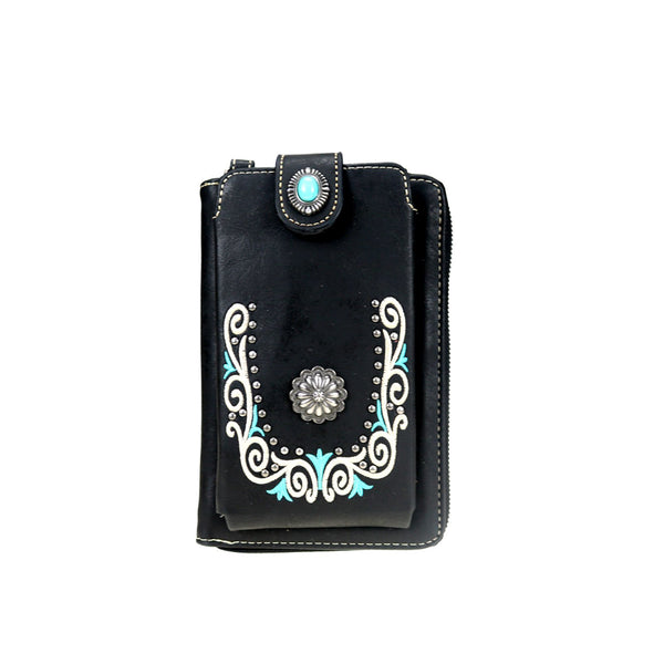 Black Embroidered Collection Crossbody Wallet Purse - Southern Style and Stash A Specialty Boutique