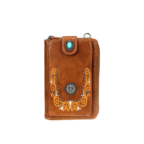 Brown Embroidered Collection Crossbody Wallet Purse - Southern Style and Stash A Specialty Boutique