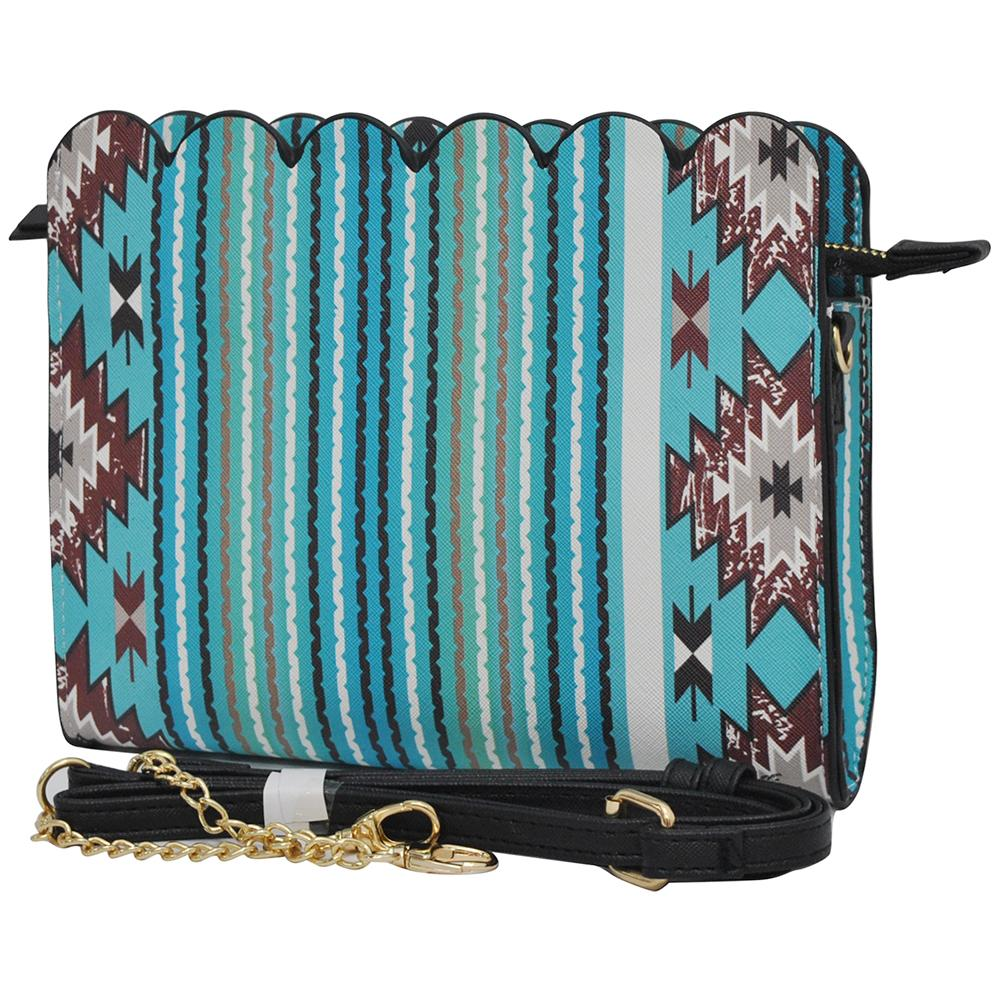 Southern Aqua Serape Leather Scallop Crossbody - Southern Style and Stash A Specialty Boutique