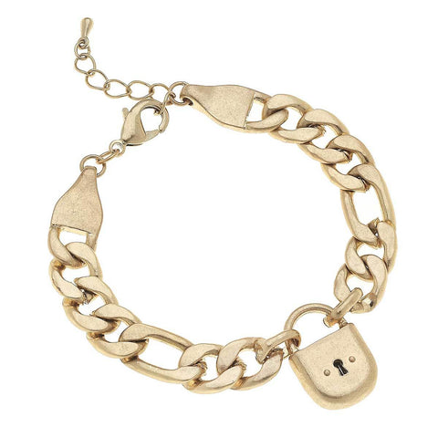 Padlock Chain Bracelet in Worn Gold
