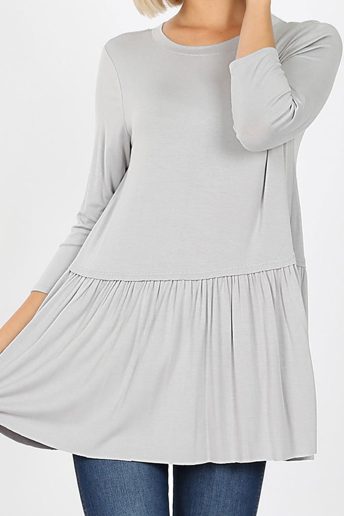 LIGHT GRAY RAYON RUFFLE BOTTOM 3/4 SLEEVE TOP