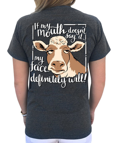 Cow Face - Dark Heather - Southern Style and Stash A Specialty Boutique