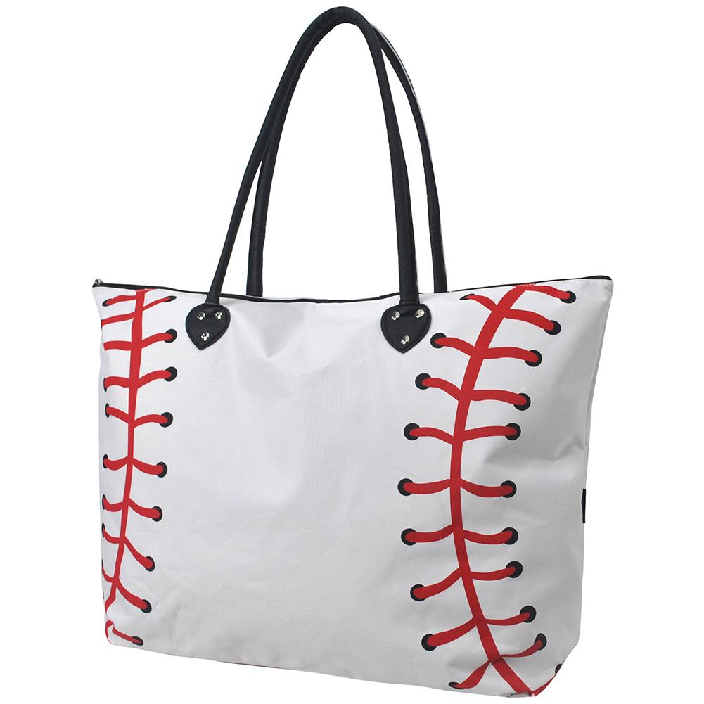 Baseball White Large Collection Tote Bag - Southern Style and Stash A Specialty Boutique