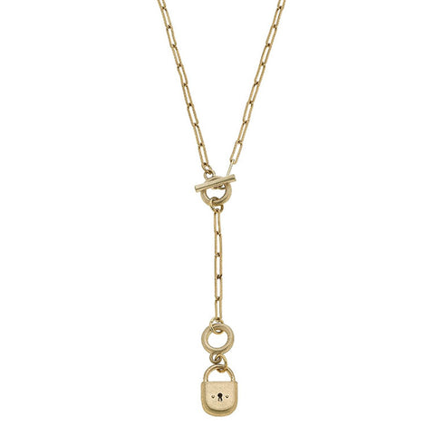 Skylar Padlock T-Bar Y Necklace in Worn Gold