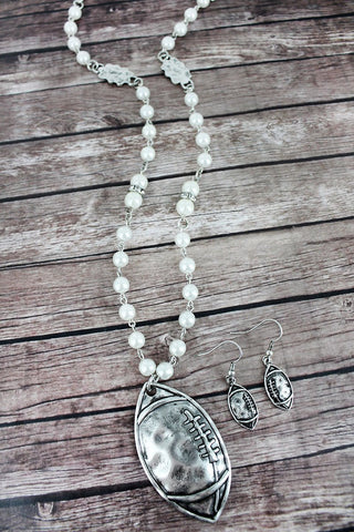 Burnished Silvertone Football Pearl Beaded Necklace and Earring Set - Southern Style and Stash A Specialty Boutique
