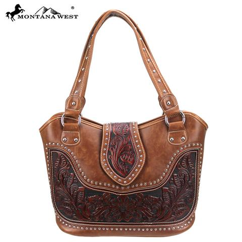 Montana West Tooling Concealed Handgun Collection Handbag/Brown