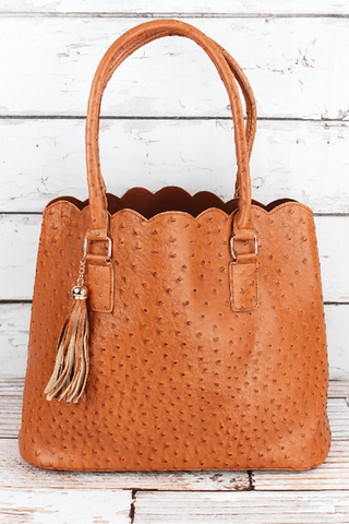 LIGHT BROWN FAUX OSTRICH LEATHER SCALLOPED TOTE - Southern Style and Stash A Specialty Boutique